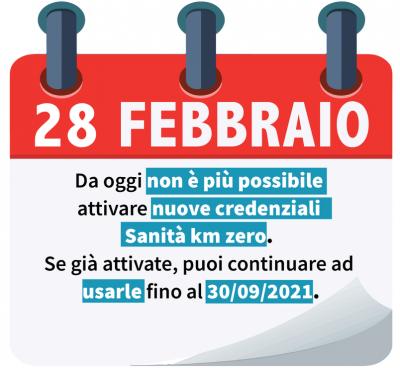 Dal 28 febbraio non è più possibile attivare nuove credenziali Sanità km zero. Se già attivate, puoi continuare ad usarle fino al 30/09/2021